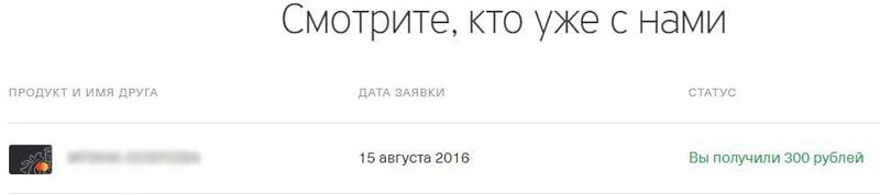 Список участников акции Тинькофф Приведи друга