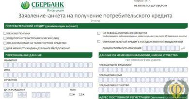 Сбербанк анкета на кредит: как заполнить, скачать образец бланка