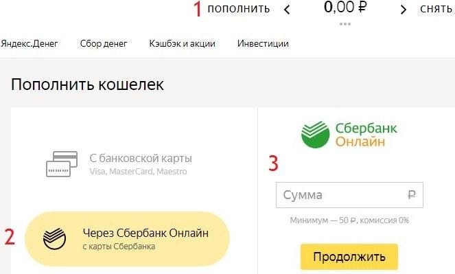 Пополнение Яндекс Деньги со Сбербанка