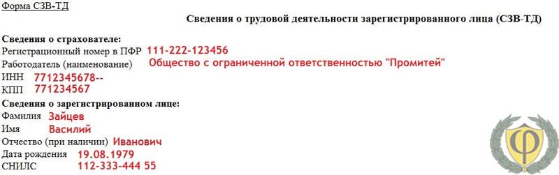 Пример заполнения формы СЗВ-ТД №1