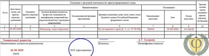 пример заполнения формы СЗВ-ТД №3
