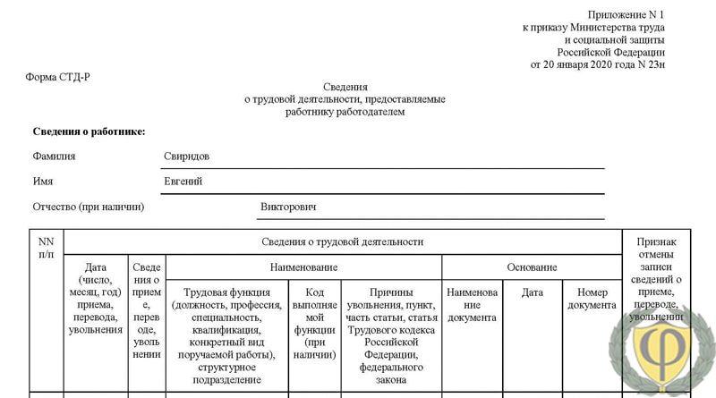 СТД-Р сведения о трудовой деятельности работника: скачать бланк