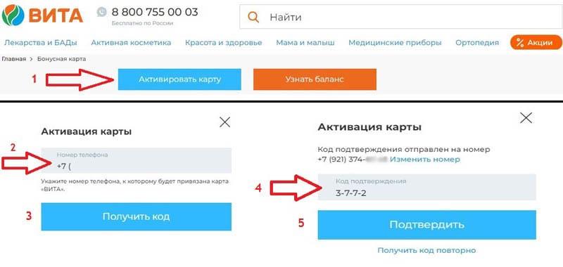 Как активировать карту Вита на сайте vitaexpress.ru