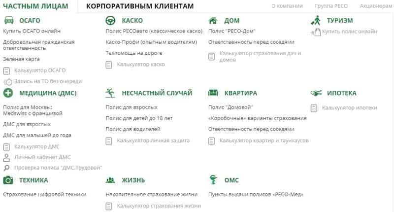 Список продуктов в РЕСО