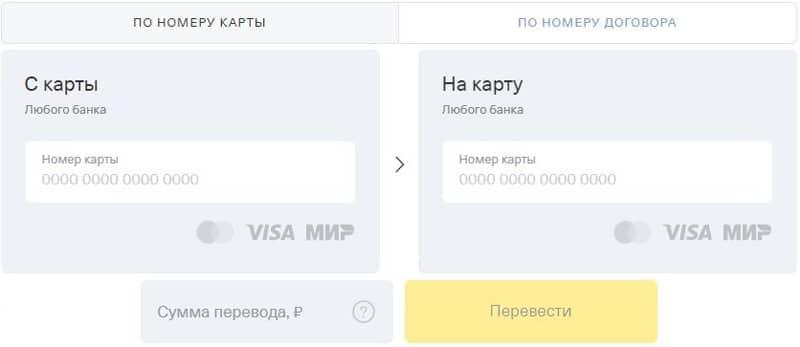Оплата переводом с карты на карту